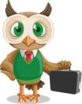 Owl Teacher Cartoon Vector Character AKA Professor CleverHoot - Briefcase 3
