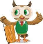 Owl Teacher Cartoon Vector Character AKA Professor CleverHoot - Travel 1