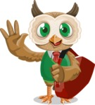 Owl Teacher Cartoon Vector Character AKA Professor CleverHoot - Travel 2