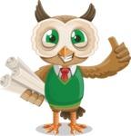 Owl Teacher Cartoon Vector Character AKA Professor CleverHoot - Plans