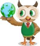 Owl Teacher Cartoon Vector Character AKA Professor CleverHoot - Globus