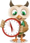 Owl Teacher Cartoon Vector Character AKA Professor CleverHoot - Time is Yours