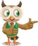 Owl Teacher Cartoon Vector Character AKA Professor CleverHoot - Show