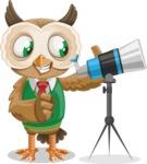 Owl Teacher Cartoon Vector Character AKA Professor CleverHoot - Telescope