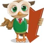 Owl Teacher Cartoon Vector Character AKA Professor CleverHoot - Pointer 3