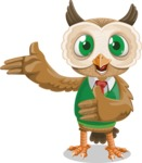 Owl Teacher Cartoon Vector Character AKA Professor CleverHoot - Show 2