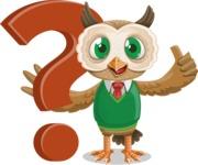 Owl Teacher Cartoon Vector Character AKA Professor CleverHoot - Question