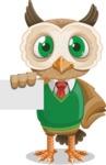 Owl Teacher Cartoon Vector Character AKA Professor CleverHoot - Sign 1