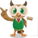 Owl Teacher Cartoon Vector Character AKA Professor CleverHoot - Sign 2