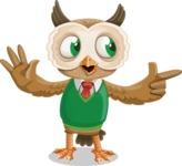 Owl Teacher Cartoon Vector Character AKA Professor CleverHoot - Point