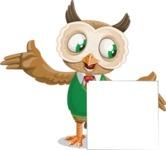 Owl Teacher Cartoon Vector Character AKA Professor CleverHoot - Sign 7