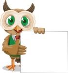 Owl Teacher Cartoon Vector Character AKA Professor CleverHoot - Sign 8