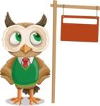 Owl Teacher Cartoon Vector Character AKA Professor CleverHoot - Sign 9