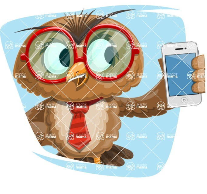 Owl with a Tie Cartoon Vector Character AKA Owlbert Witty - Shape 2