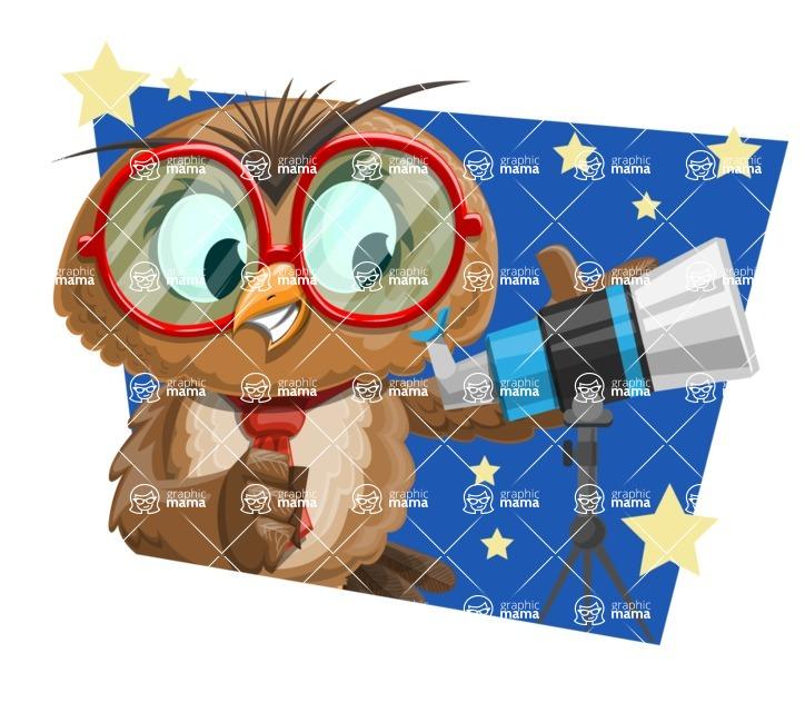 Owl with a Tie Cartoon Vector Character AKA Owlbert Witty - Shape 4