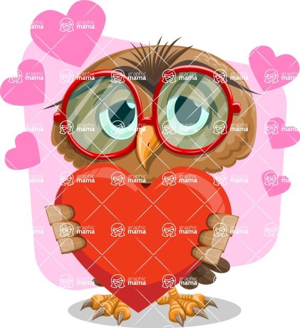 Owl with a Tie Cartoon Vector Character AKA Owlbert Witty - Shape 7