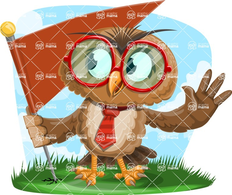 Owl with a Tie Cartoon Vector Character AKA Owlbert Witty - Shape 9