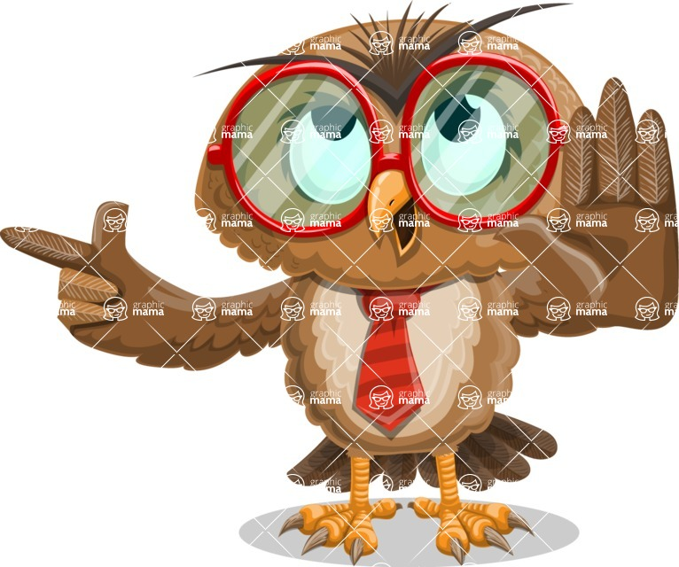 Owl with a Tie Cartoon Vector Character AKA Owlbert Witty - Direct Attention