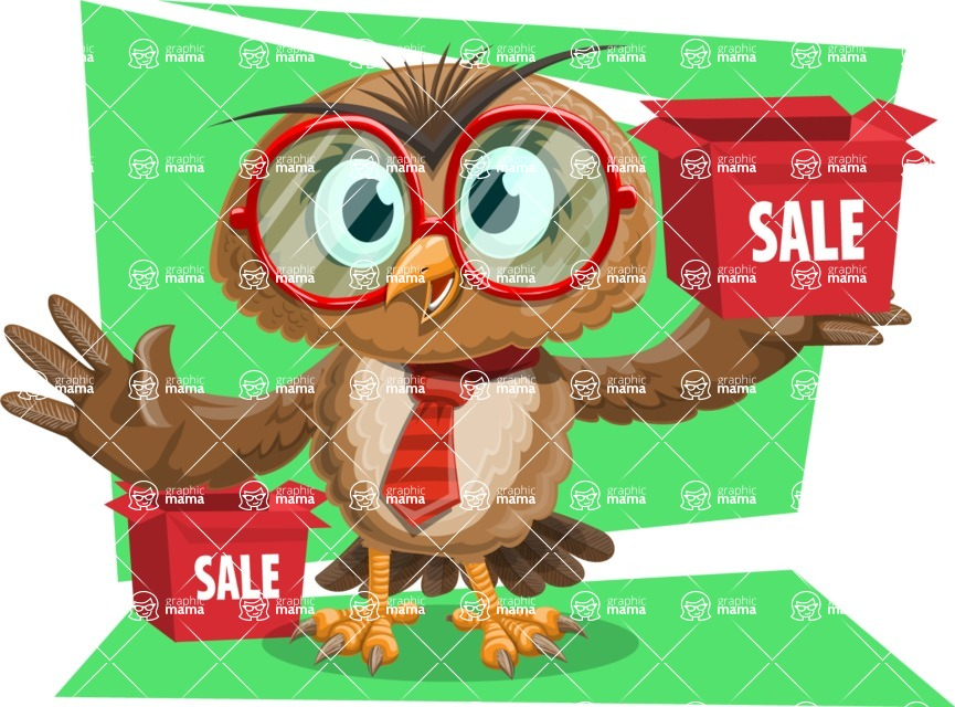 Owl with a Tie Cartoon Vector Character AKA Owlbert Witty - Shape 12