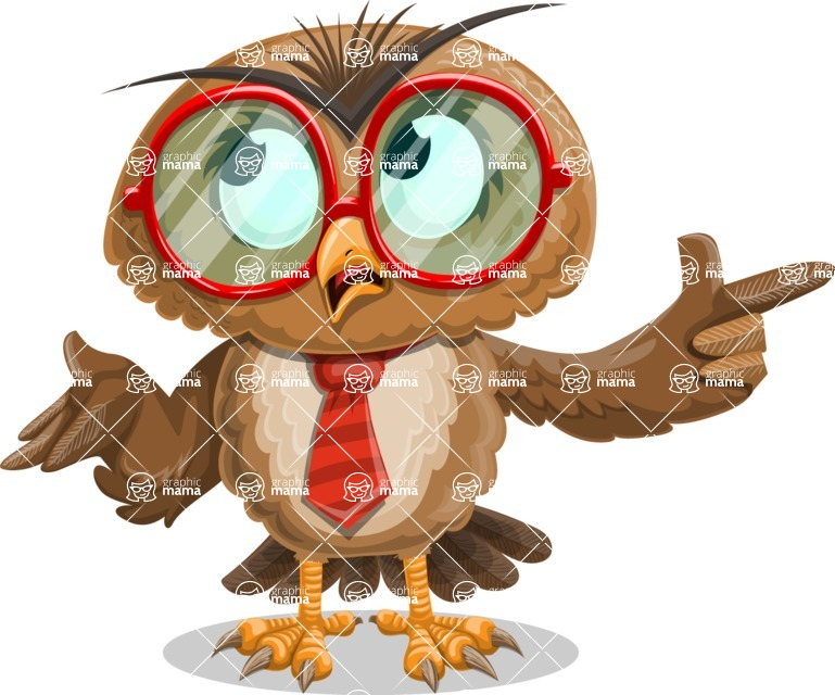 Owl with a Tie Cartoon Vector Character AKA Owlbert Witty - DirectAttention 2