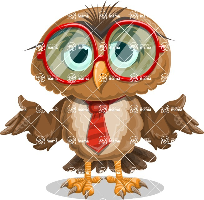 Owl with a Tie Cartoon Vector Character AKA Owlbert Witty - Sorry