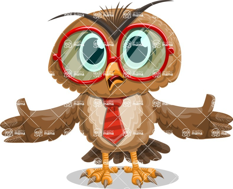 Owl with a Tie Cartoon Vector Character AKA Owlbert Witty - Stunned