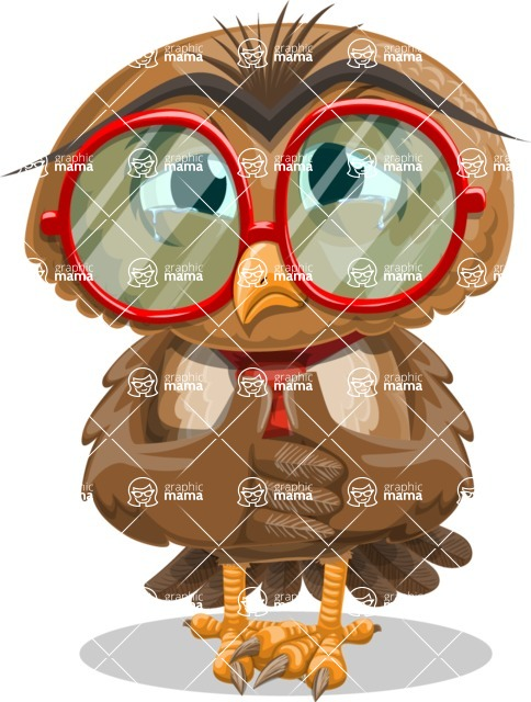 Owl with a Tie Cartoon Vector Character AKA Owlbert Witty - Sad