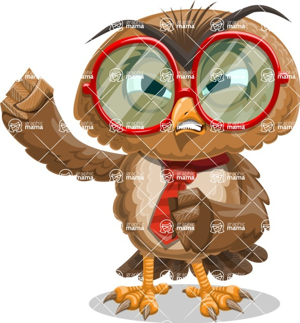 Owl with a Tie Cartoon Vector Character AKA Owlbert Witty - Angry