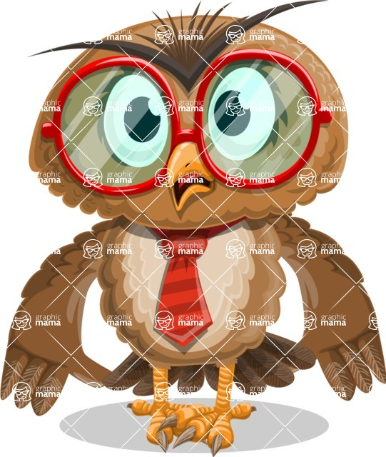 Owl with a Tie Cartoon Vector Character AKA Owlbert Witty - Shocked