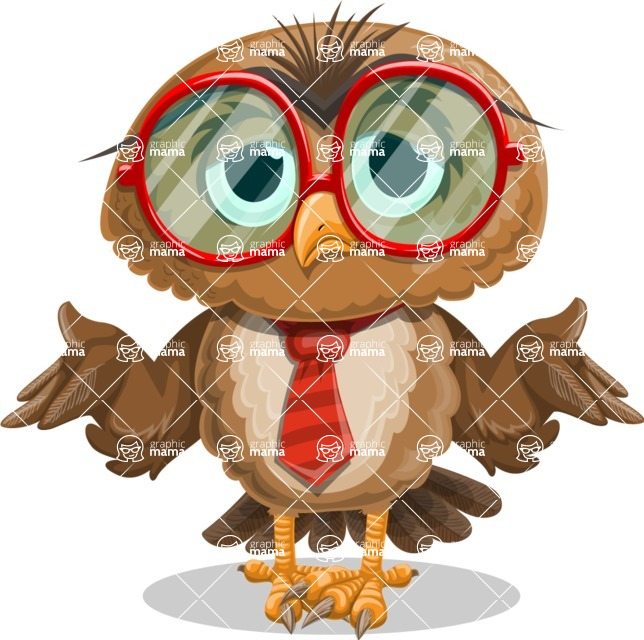 Owl with a Tie Cartoon Vector Character AKA Owlbert Witty - Lost