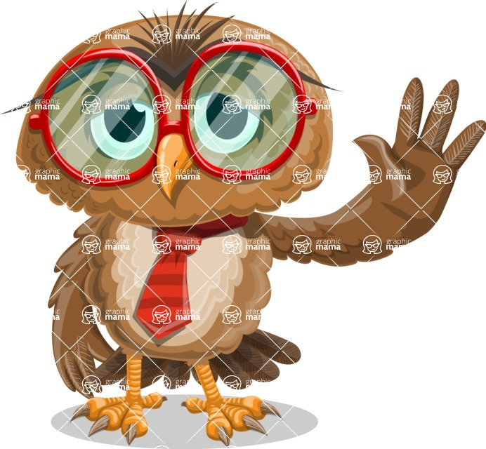 Owl with a Tie Cartoon Vector Character AKA Owlbert Witty - GoodBye