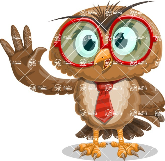 Owl with a Tie Cartoon Vector Character AKA Owlbert Witty - Hello