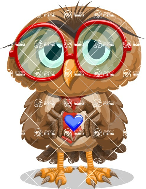 Owl with a Tie Cartoon Vector Character AKA Owlbert Witty - Show Love