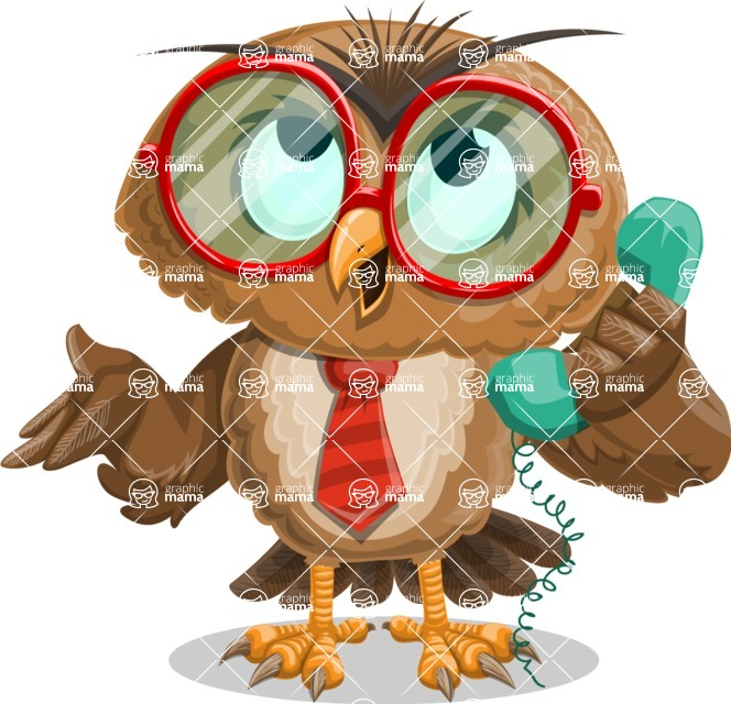 Owl with a Tie Cartoon Vector Character AKA Owlbert Witty - Support