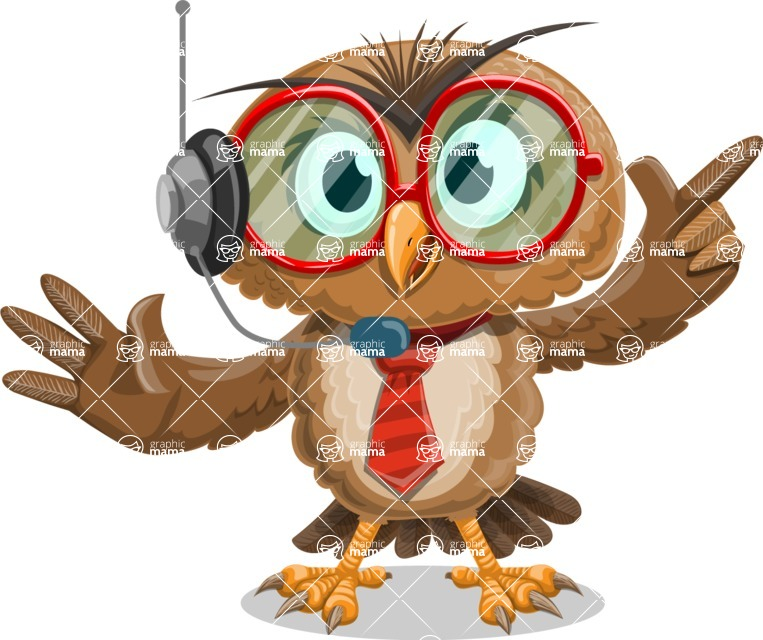 Owl with a Tie Cartoon Vector Character AKA Owlbert Witty - Support 2