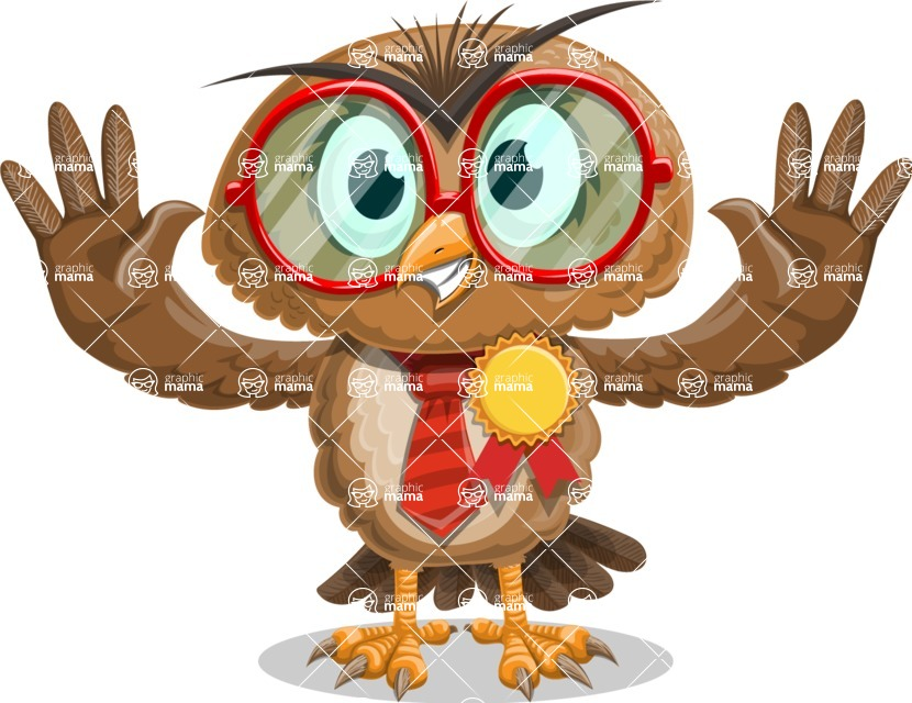 Owl with a Tie Cartoon Vector Character AKA Owlbert Witty - Ribbon