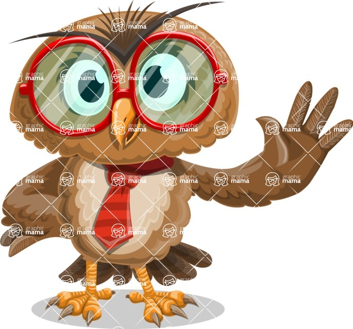 Owl with a Tie Cartoon Vector Character AKA Owlbert Witty - Wave