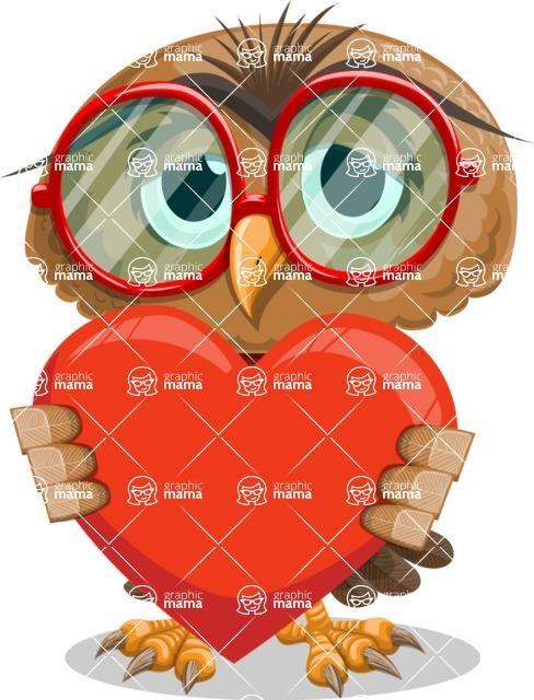 Owl with a Tie Cartoon Vector Character AKA Owlbert Witty - Love