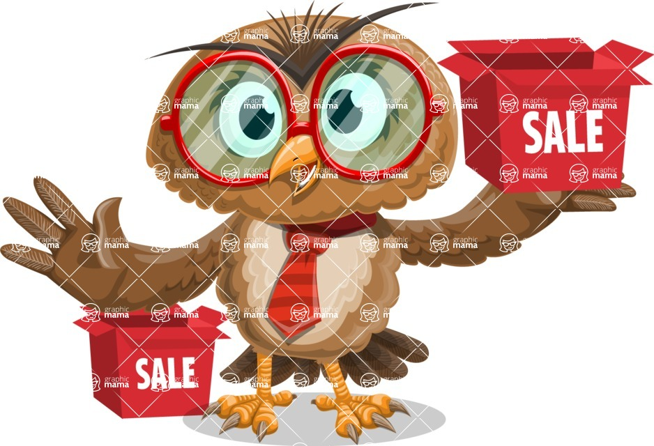 Owl with a Tie Cartoon Vector Character AKA Owlbert Witty - Sale