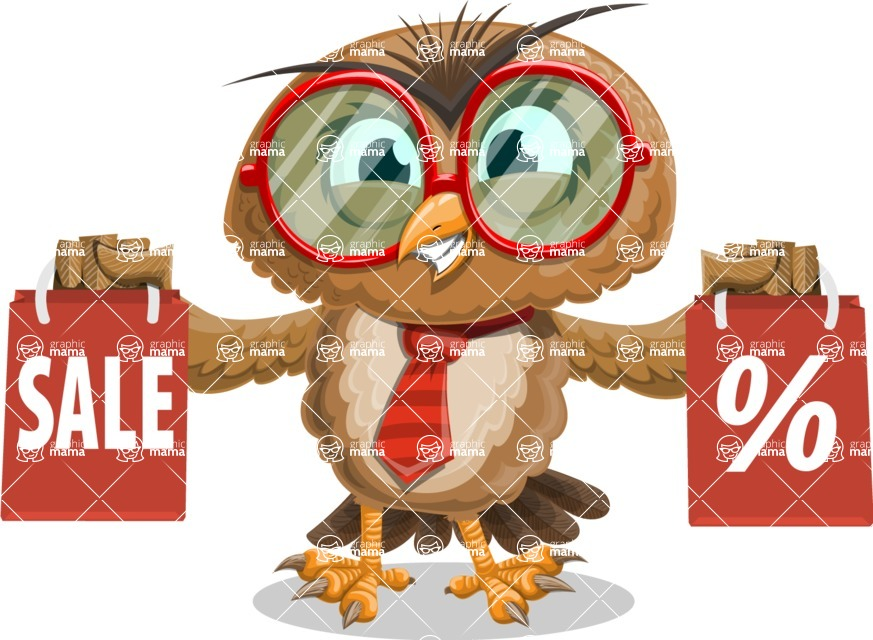 Owl with a Tie Cartoon Vector Character AKA Owlbert Witty - Sale 2