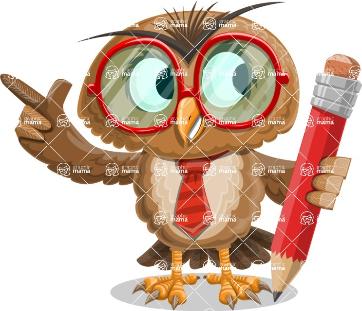 Owl with a Tie Cartoon Vector Character AKA Owlbert Witty - Pencil
