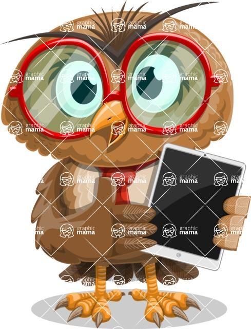 Owl with a Tie Cartoon Vector Character AKA Owlbert Witty - iPad 1