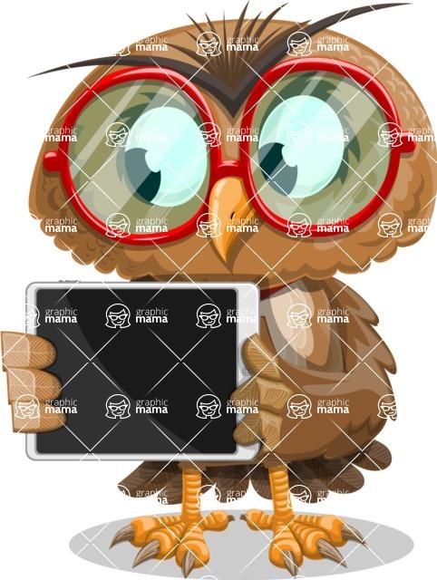 Owl with a Tie Cartoon Vector Character AKA Owlbert Witty - iPad 2