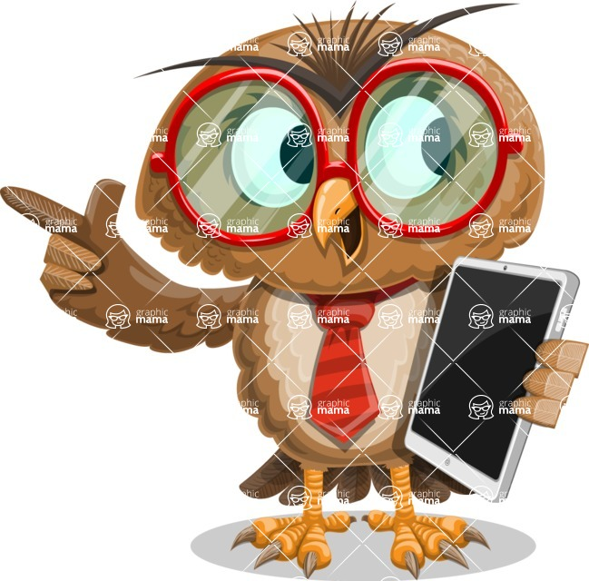 Owl with a Tie Cartoon Vector Character AKA Owlbert Witty - iPad 3