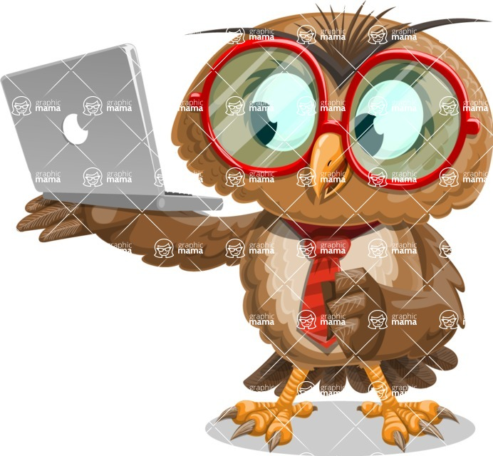Owl with a Tie Cartoon Vector Character AKA Owlbert Witty - Laptop 1