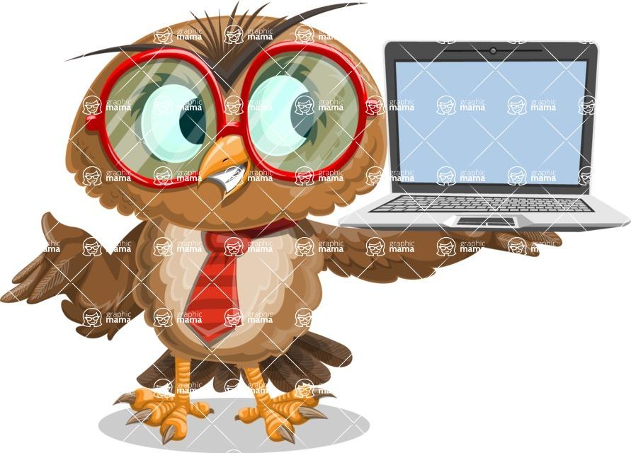 Owl with a Tie Cartoon Vector Character AKA Owlbert Witty - Laptop 3