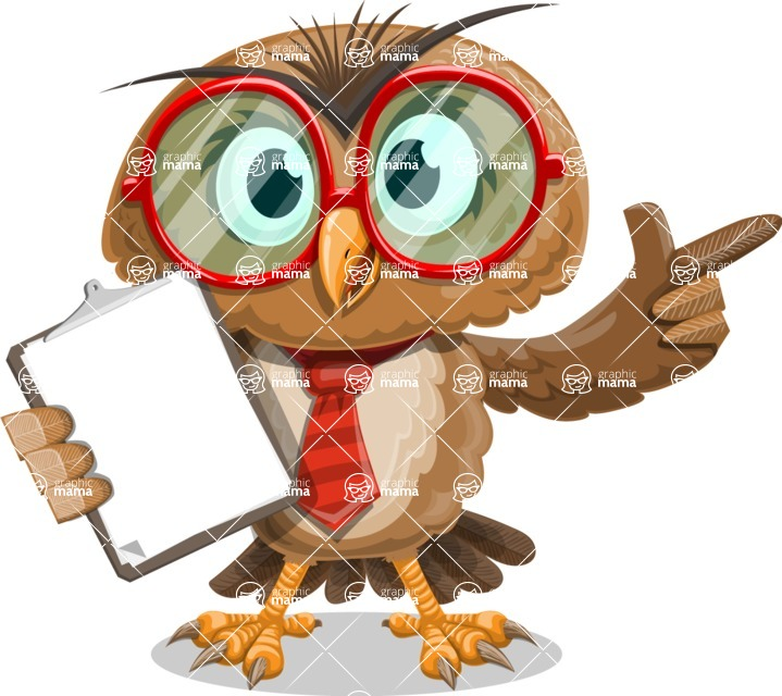Owl with a Tie Cartoon Vector Character AKA Owlbert Witty - Notepad 1