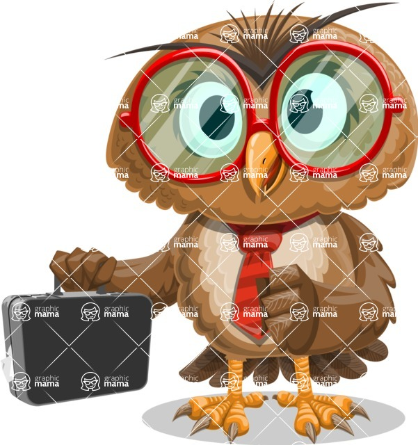 Owl with a Tie Cartoon Vector Character AKA Owlbert Witty - Briefcase 1