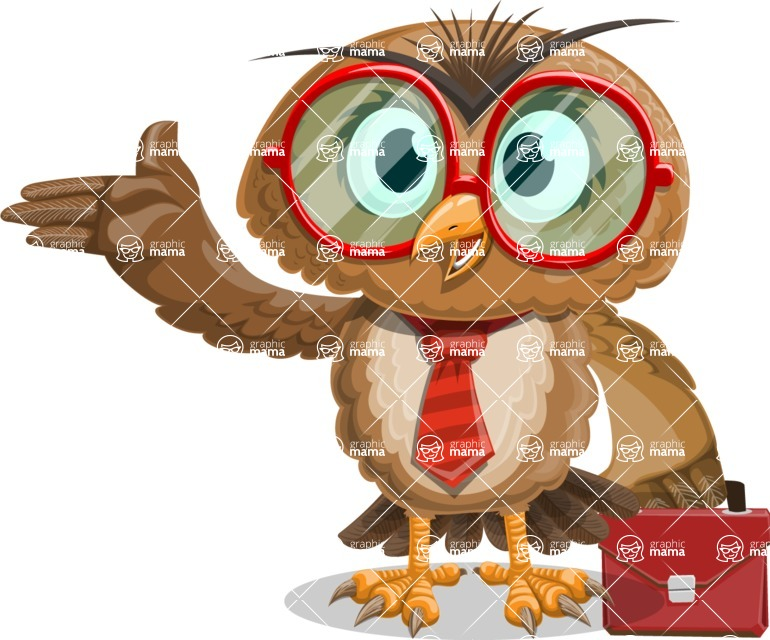 Owl with a Tie Cartoon Vector Character AKA Owlbert Witty - Briefcase 2