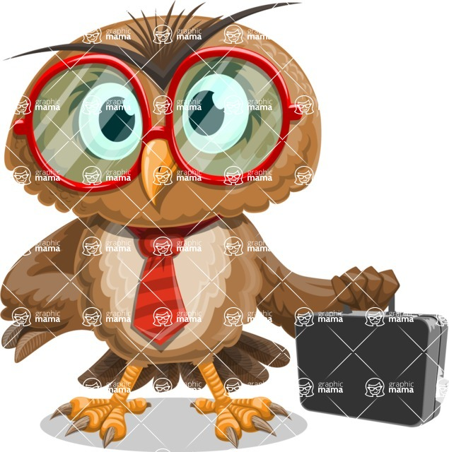 Owl with a Tie Cartoon Vector Character AKA Owlbert Witty - Briefcase 3